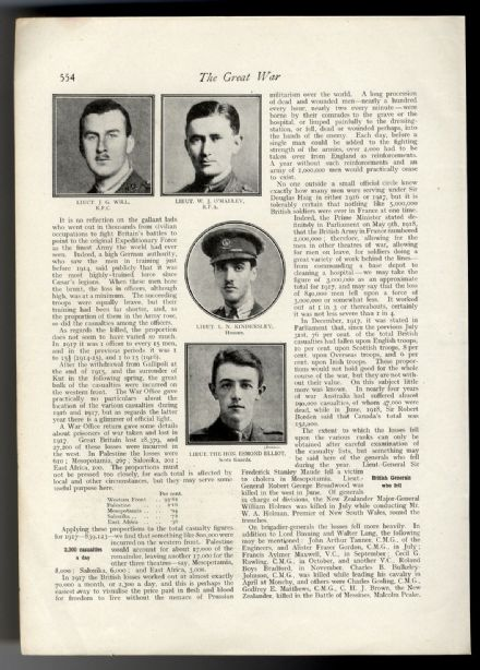 1918 WW1 Officers Killed LT. J G WILL Lt W O'Malley LT KINDERSLEY Esmond Elliott